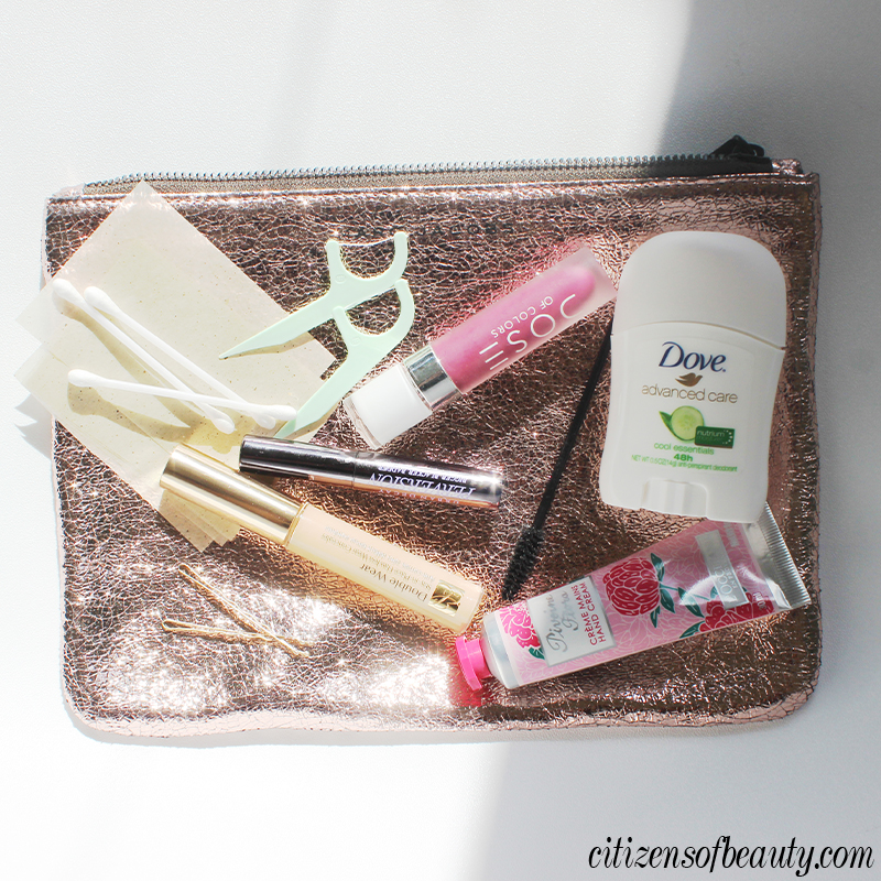 holiday party beauty survival kit for beauty emergencies.