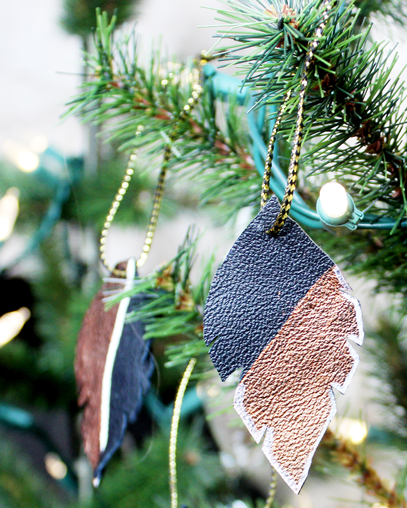 instructions to make a feather ornament out of leather