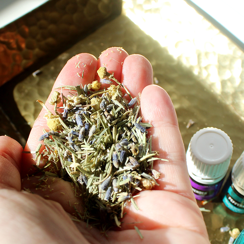 lavender and peppermint essentials oils from young living that are perfect for a DIY body scrub