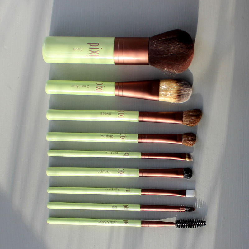 Pixi Beauty professional makeup brush set with a travel case