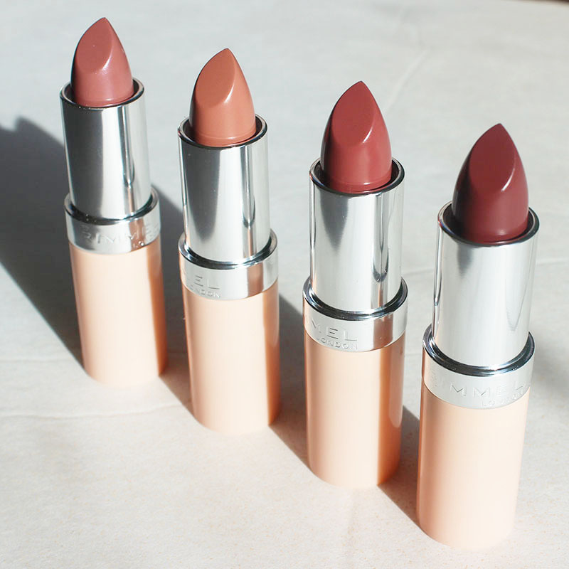 Rimmel London by Kate Moss nude lipstick review for shades 45,46,47,48