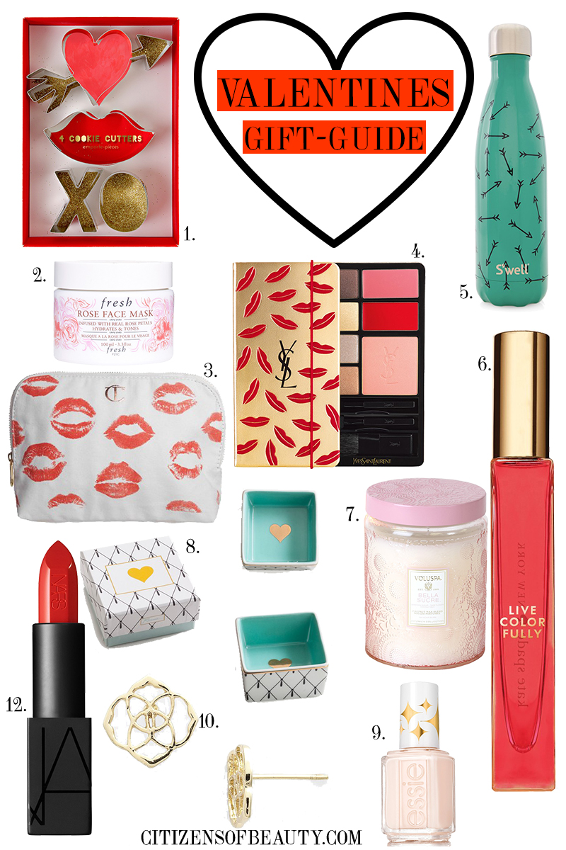 VALENTINES DAY GIFT GUIDE full of beautiful cosmetics, perfume, candles, jewelry, and other non-traditional Valentines Day Gifts