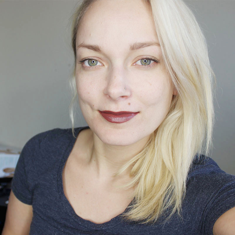 Wearing Rimmel London Nude Lipstick in shade 48
