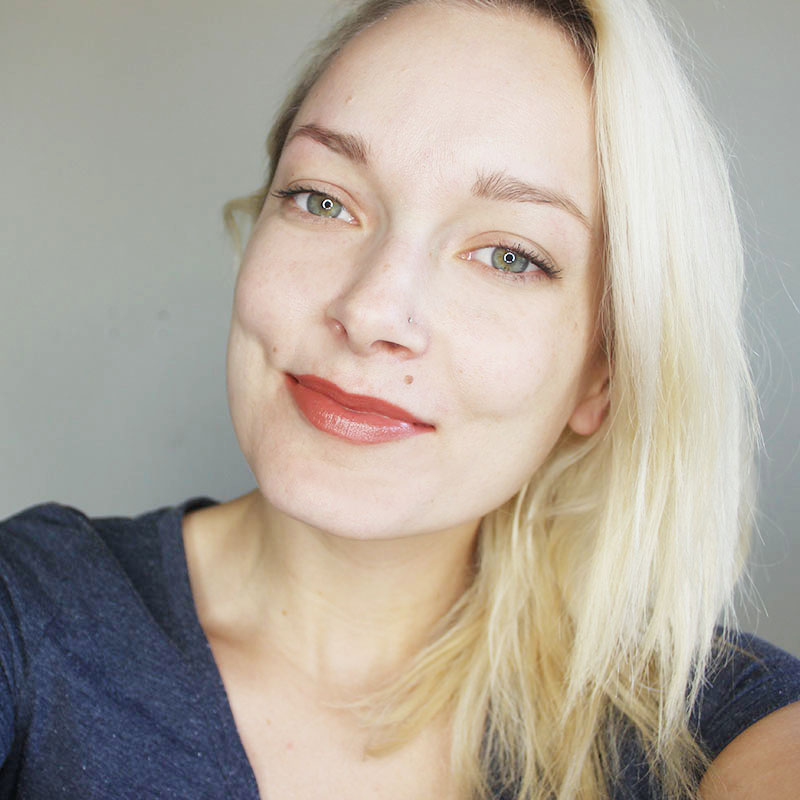 Wearing Rimmel London by Kate Moss in nude lipstick color 47