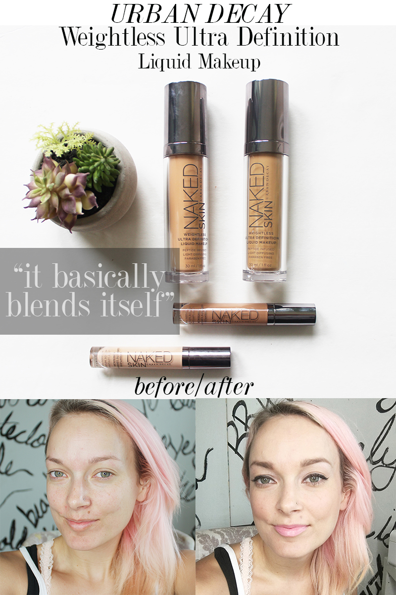before and after Urban Decay Weightless Ultra Definition Liquid Makeup