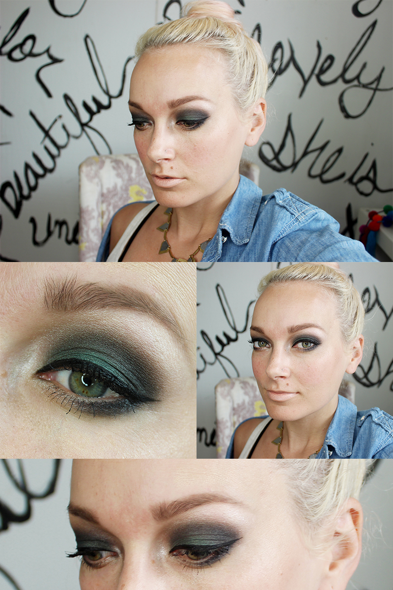 Teal and dark smoky eye makeup tutorial and live feed Facebook beauty look.