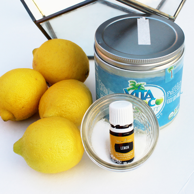 easy DIY lemon drop lip scrub using coconut oil, sugar, and lemon essential oils