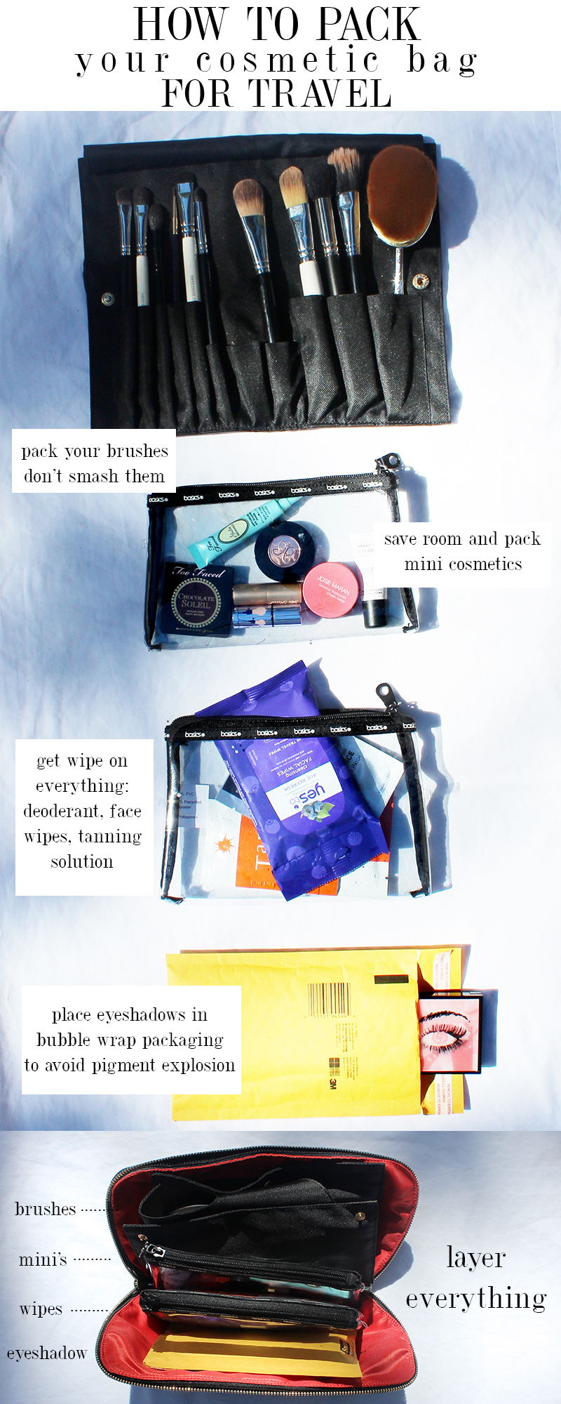 how to pack your cosmetic bag for travel
