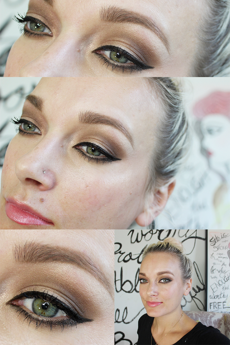 special occasion makeup look tutorial with bold eyeliner and nude lipstick.