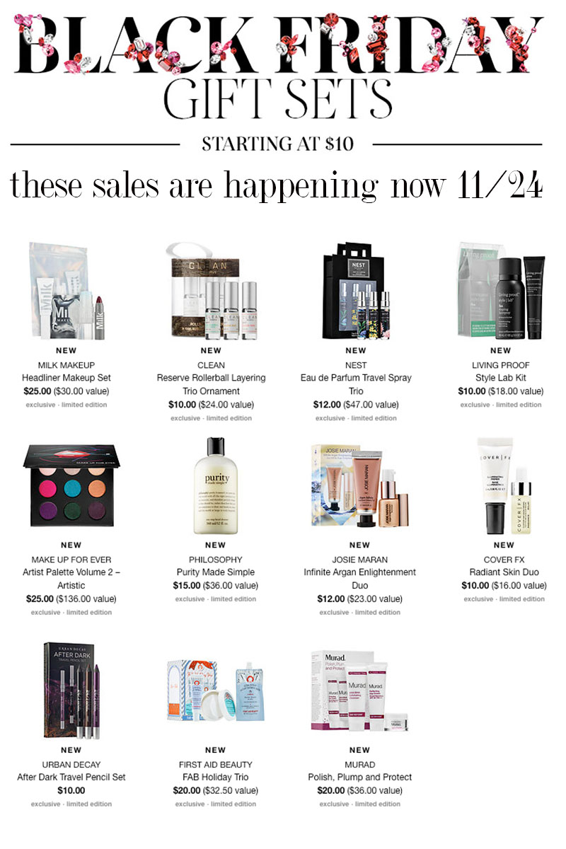 Sephora Black Friday sales and gift sets are up now.