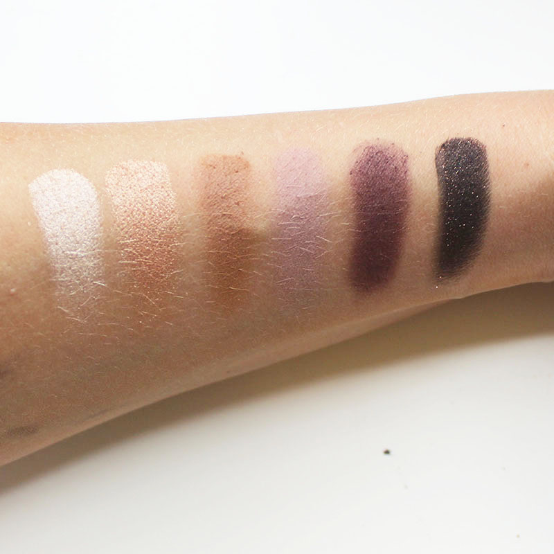 swatches from the Marc Jacobs Holiday Makeup Object Of Desire Face and Eye Palette