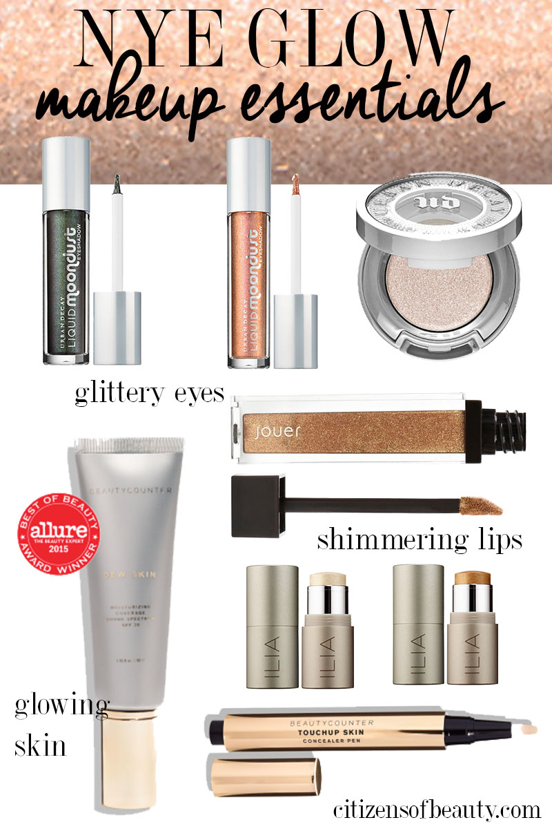 NYE glowing makeup essentials for shimmery and glittery look