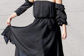 black cold shoulder cocktail dresses for New Years Eve