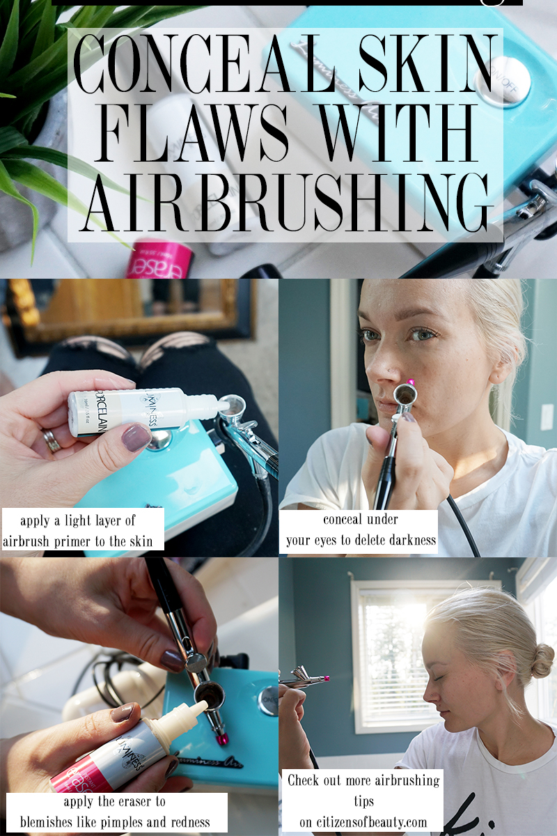 how to conceal skin flaws using airbrush makeup