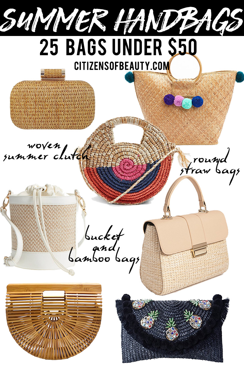 25 summer handbags under $50 that are woven straw and bamboo