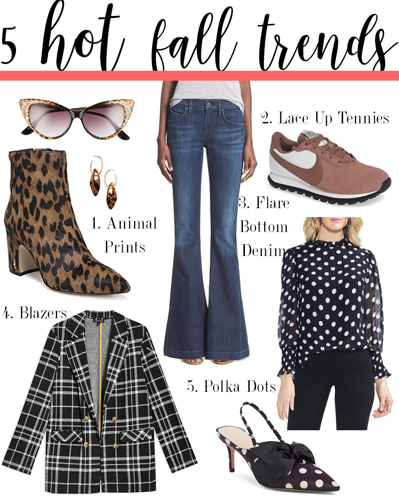 5 hot fall fashion trends to try for 2018 like leopard print, blazers, flare denim, polka dots and lace up tennies.