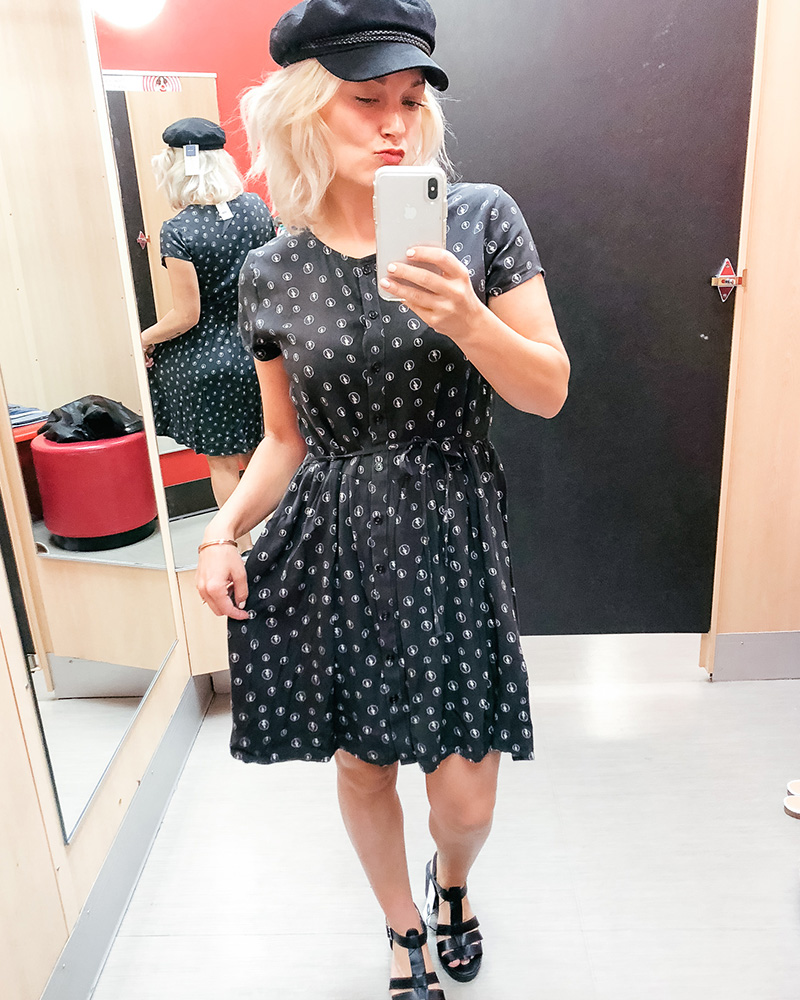90's dress and hat at Target style try on haul with style blogger kendra stanton