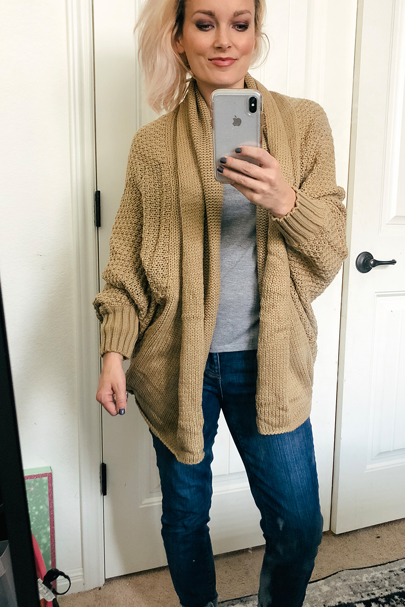 Austin, TX Beauty and Lifestyle blogger Kendra Stanton shows you this cute tan knit cardigan from Amazon Prime