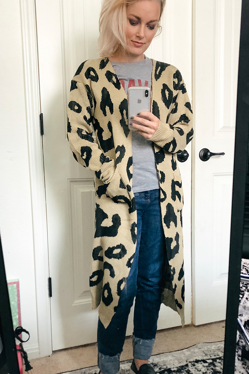 Austin, TX Beauty and Lifestyle blogger Kendra Stanton shows you this leopard print cardigan from Amazon Prime