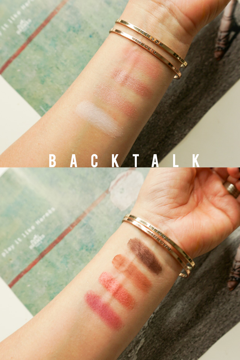 Swatches for the UD Backtalk Eyeshadow Palette
