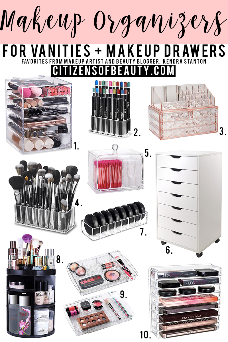 Best makeup organizers on Amazon for vanities and drawers that hold cosmetics with makeup artist and beauty blogger, Kendra Stanton
