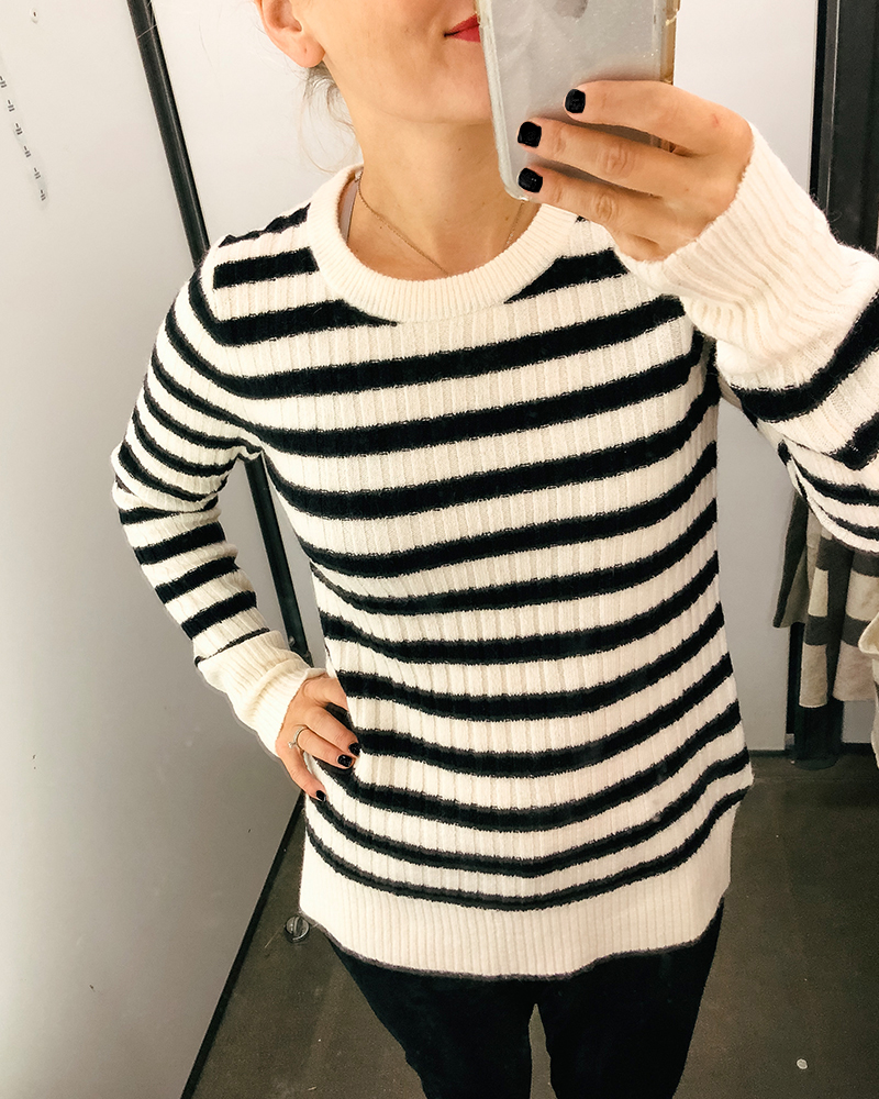 Black and white striped cozy sweater for fall cold days