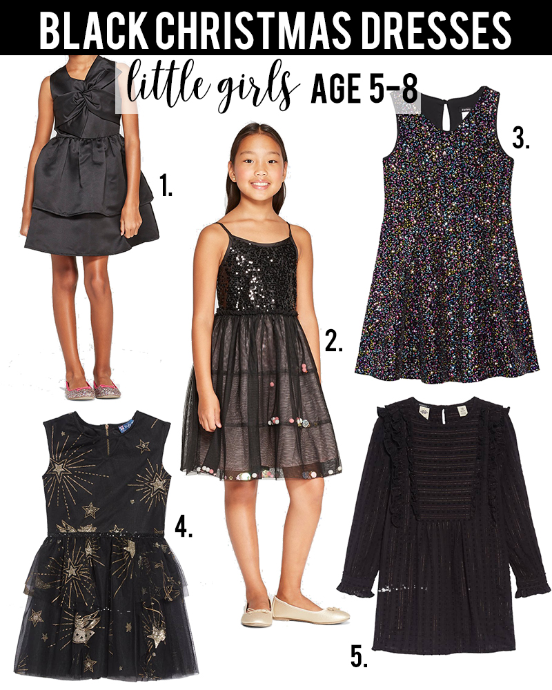 Black christmas dress ideas for little girls age 5-8 under $50 with beauty and lifestyle blogger, Kendra Stanton