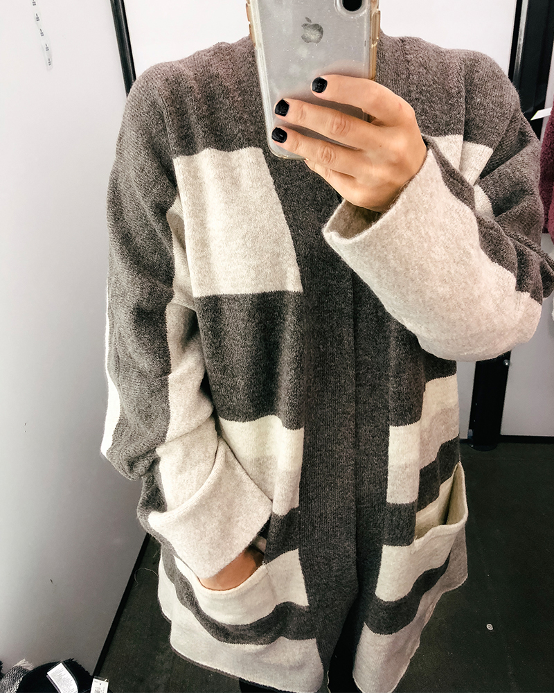 Check out this cozy grey and white striped cardigan. It' reminds me of Madewell but a dupe because it's so much less expensive.