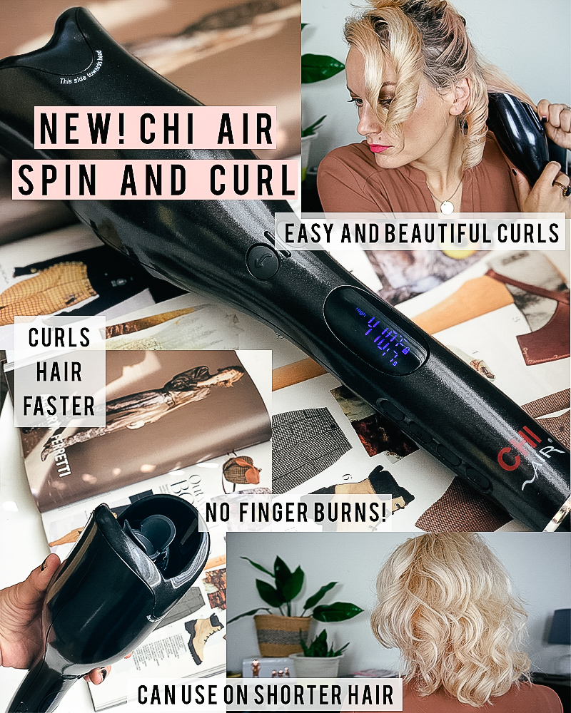 Chi Spin N Curl Self Rotating curling iron hair tool works well on short hair too. Check out this full review plus video demo.