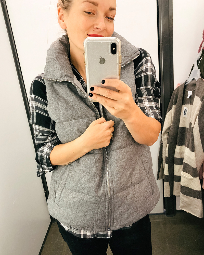 Cozy and warm grey vest at a killer price. Check out this old navy try on Haul for cold weather with style blogger, Kendra Stanton