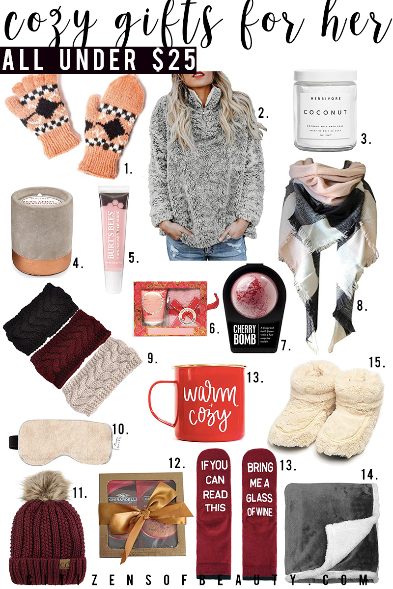 Cozy gift and holiday presents under $25 on Amazon for her. Find warm blankets, snuggly slippers, cozy sweaters and more all for unter twenty five with style blogger, Kendra Stanton