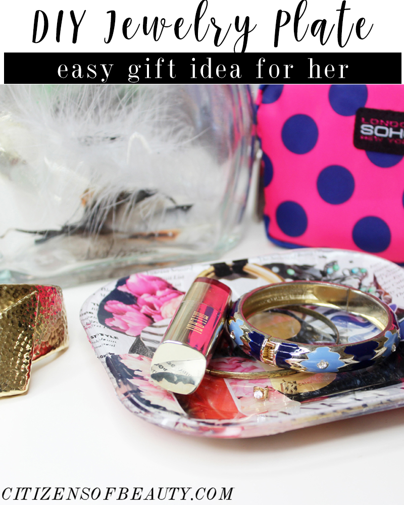 Easy DIY Jewelry Plate gift idea for her to hold rings, lipstick and earrings with beauty and lifestyle blogger, Kendra Stanton