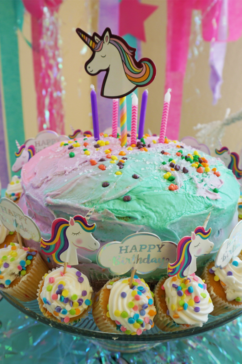 Easy unicorn cake for kids birthday party