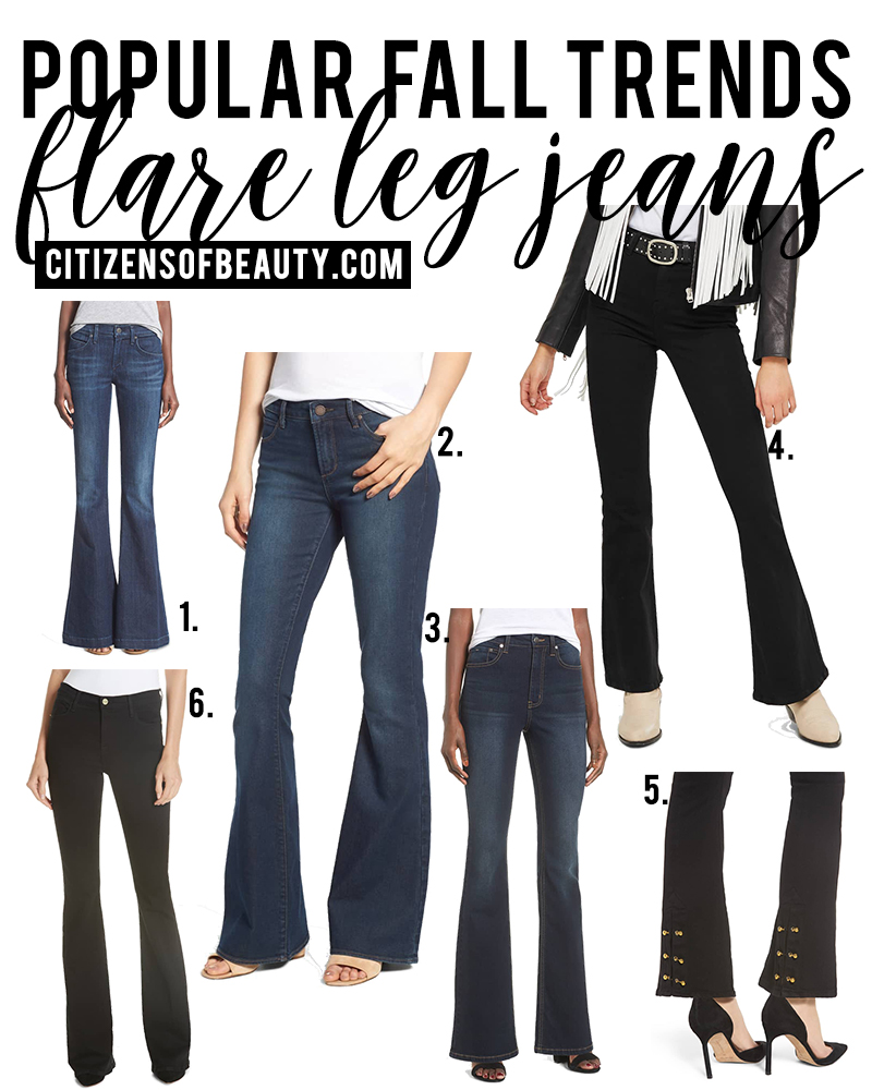 Flare leg jeans a popular fall fashion trends to try for fall 2018. Check out all of the different ways to wear this trend with style blogger, Kendra Stanton