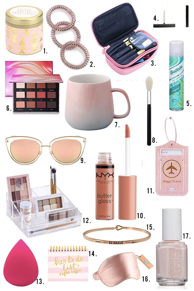 Get these small holiday gifts for women with Amazon Prime that are perfect for stocking stuffers all under $10. Fine lmakeup, brush cases, travel tags, lipgloss, nail polish and more with beauty and style blogger, Kendra Stanton.