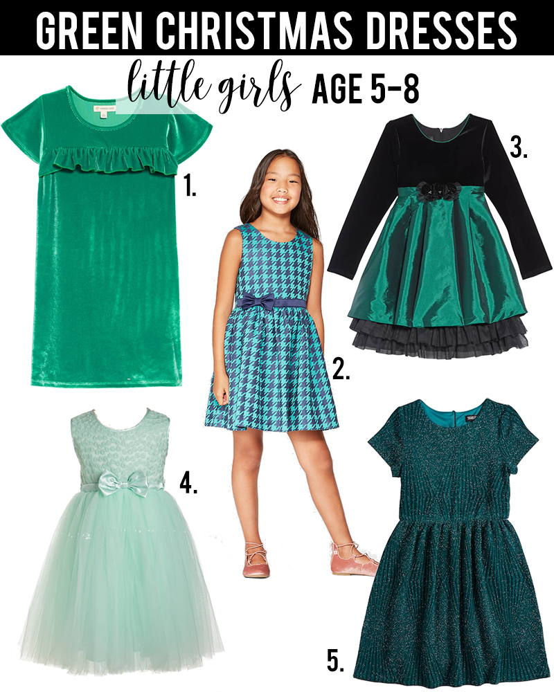 Green christmas dress ideas for little girls age 5-8 under $50 with beauty and lifestyle blogger, Kendra Stanton