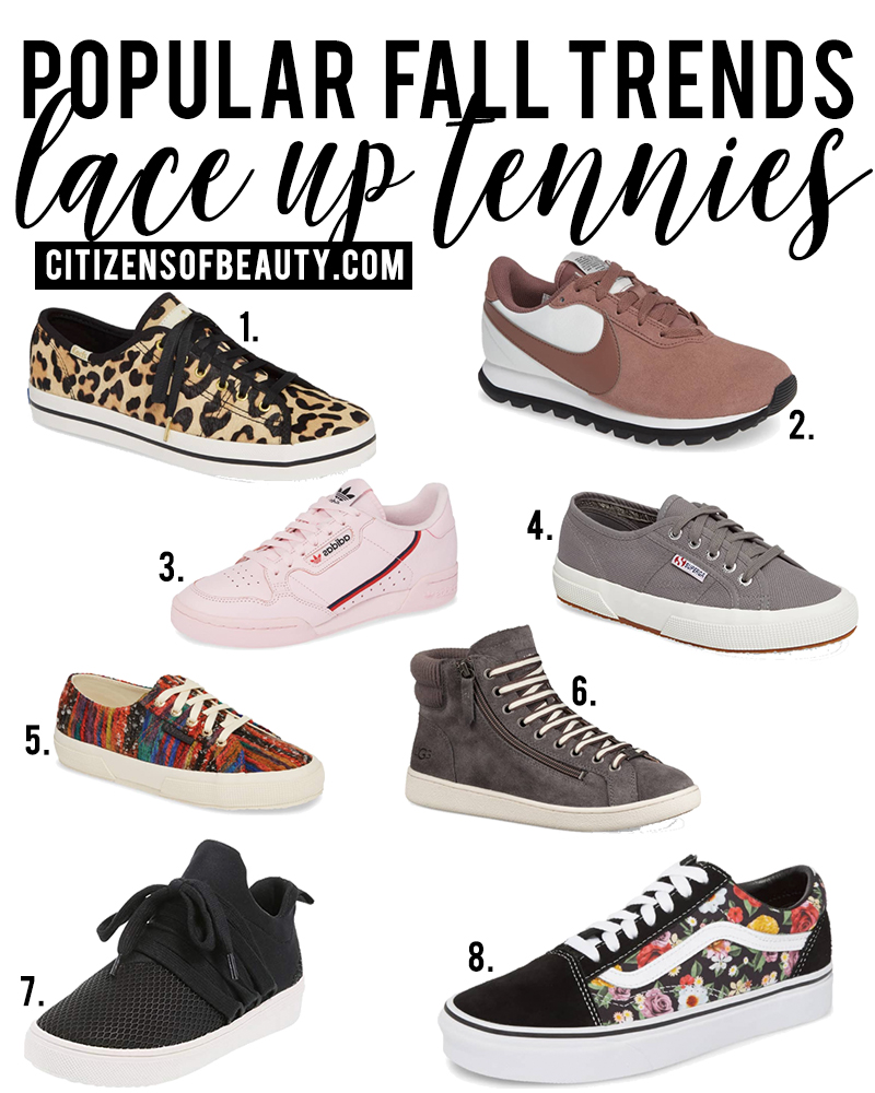 Lace up Tennies are a popular fall fashion trends to try for fall 2018. Check out all of the different ways to wear this trend with style blogger, Kendra Stanton