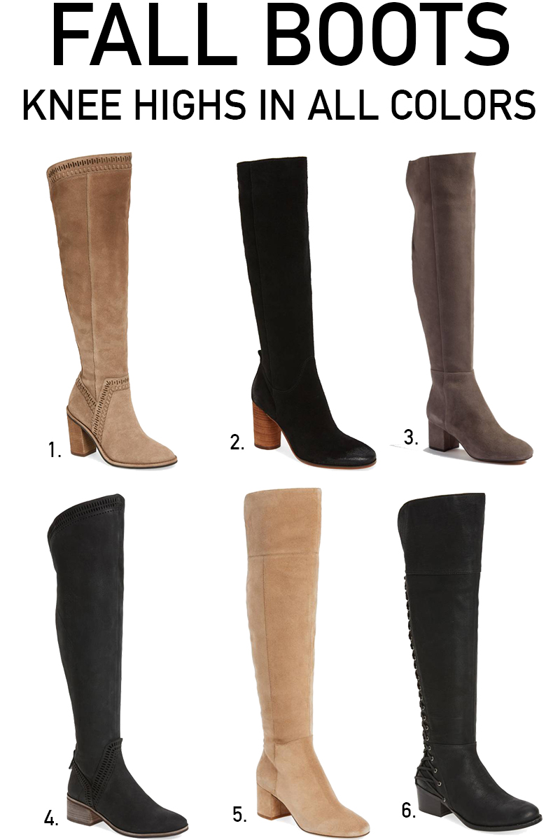 NORDSTROM ANNIVERSARY SALE 2017 KNEE HIGH BOOTS FOR FALL IN ALL BLACK, BROWN, BEIGE, AND TAN