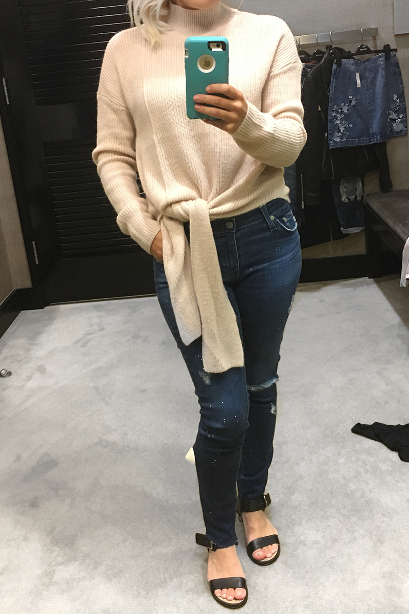Nordstrom Anniversary Sale 2017 pink Tie Front sweater and AG denim