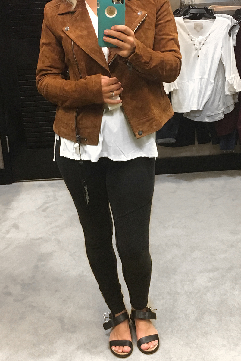 Nordstrom Anniversary Sale 2017 Black Moto Leggings, white t-shirt and brown suede jacket