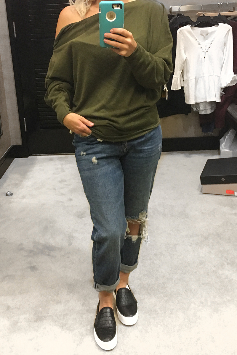 Olive green off shoulder slouchy top at the Nordstrom Anniversary Sale