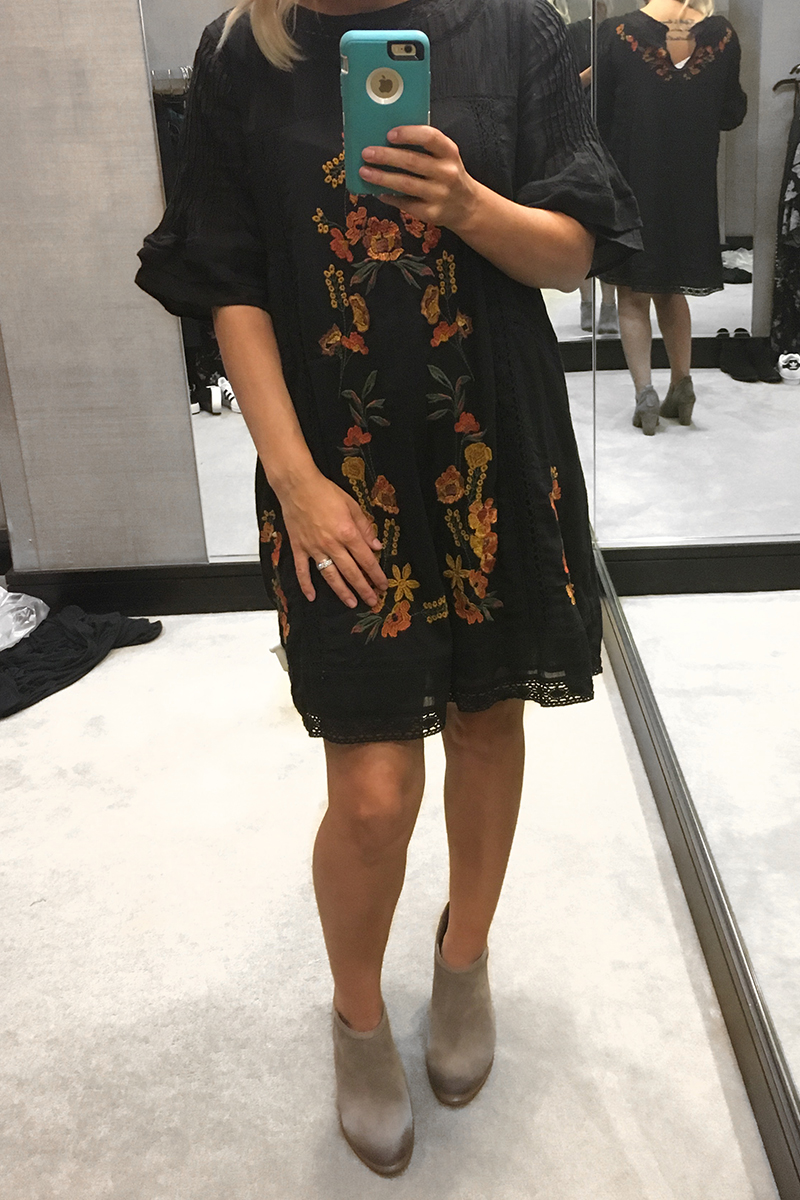 Nordstrom Anniversary Sale 2017 Free People black floral dress, tan vince camuto booties