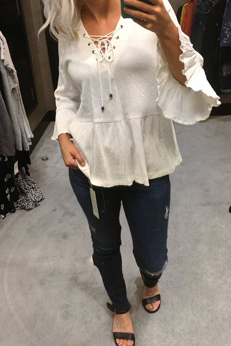 Nordstrom Anniversary Sale 2017 Tie up front white blouse and bell sleeves