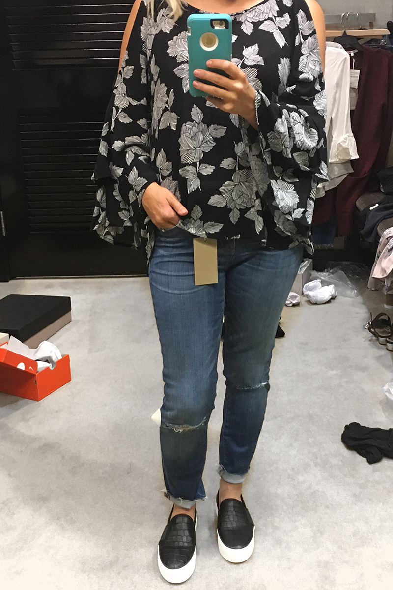 Nordstrom Anniversary Sale 2017 black booties, Madewell jeans, floral blouse