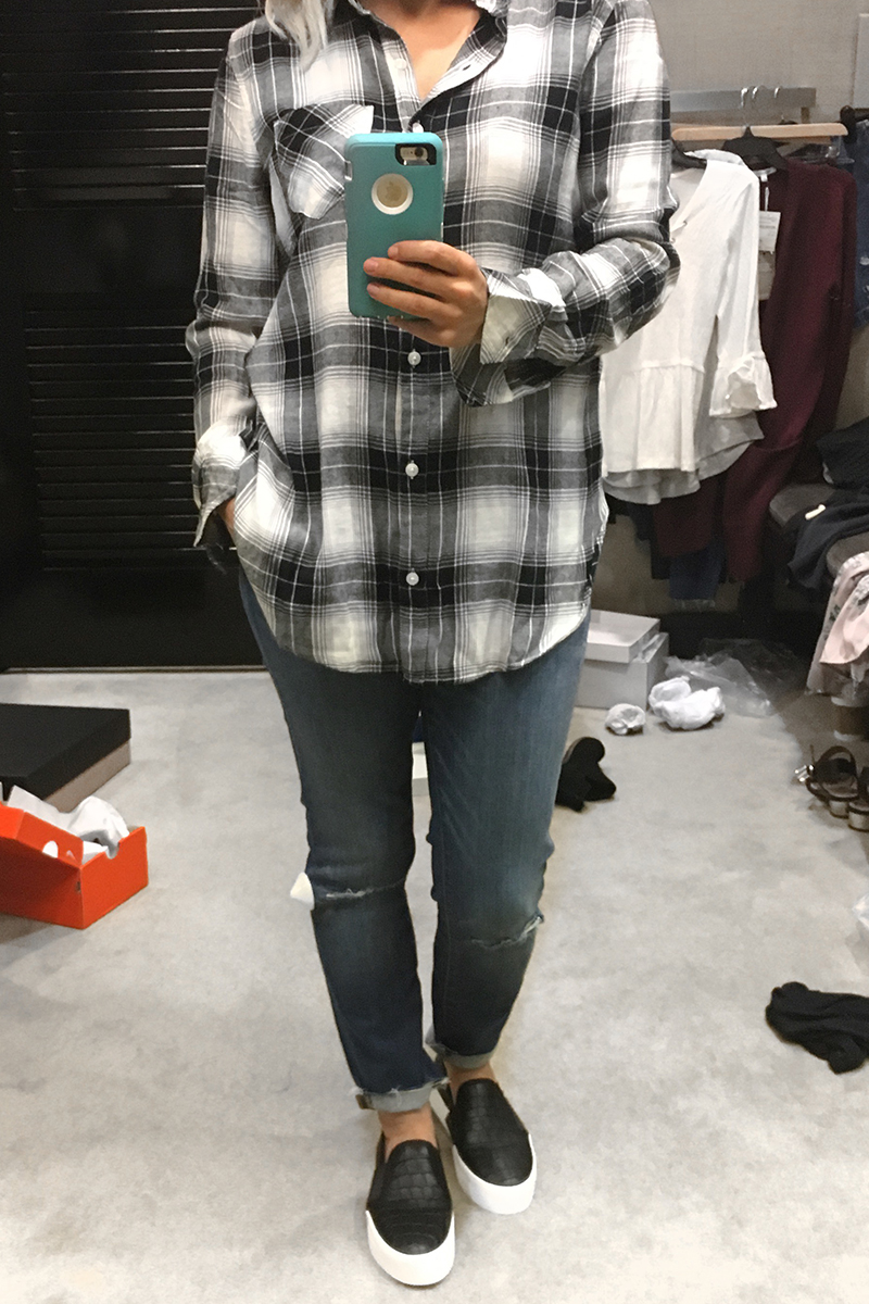 Nordstrom Anniversary Sale 2017 plaid long sleeve shirt, madewell destoyed denim pants, state 1 black slide on shoes