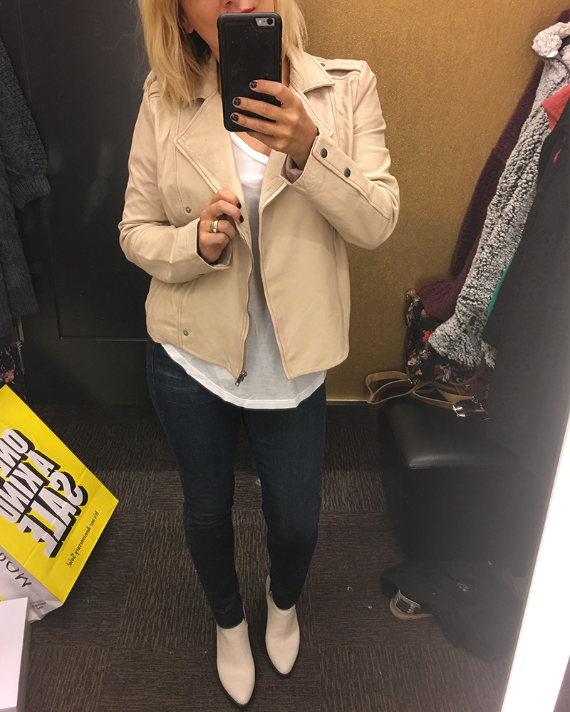 Hinge Cream Leather Jacket on Sale Nordstrom Half Yearly Sale 2018