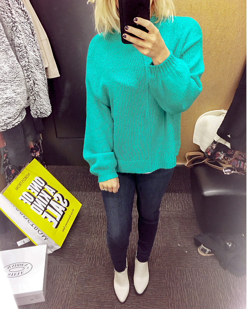 Green sweater Nordstrom Half Yearly Sale