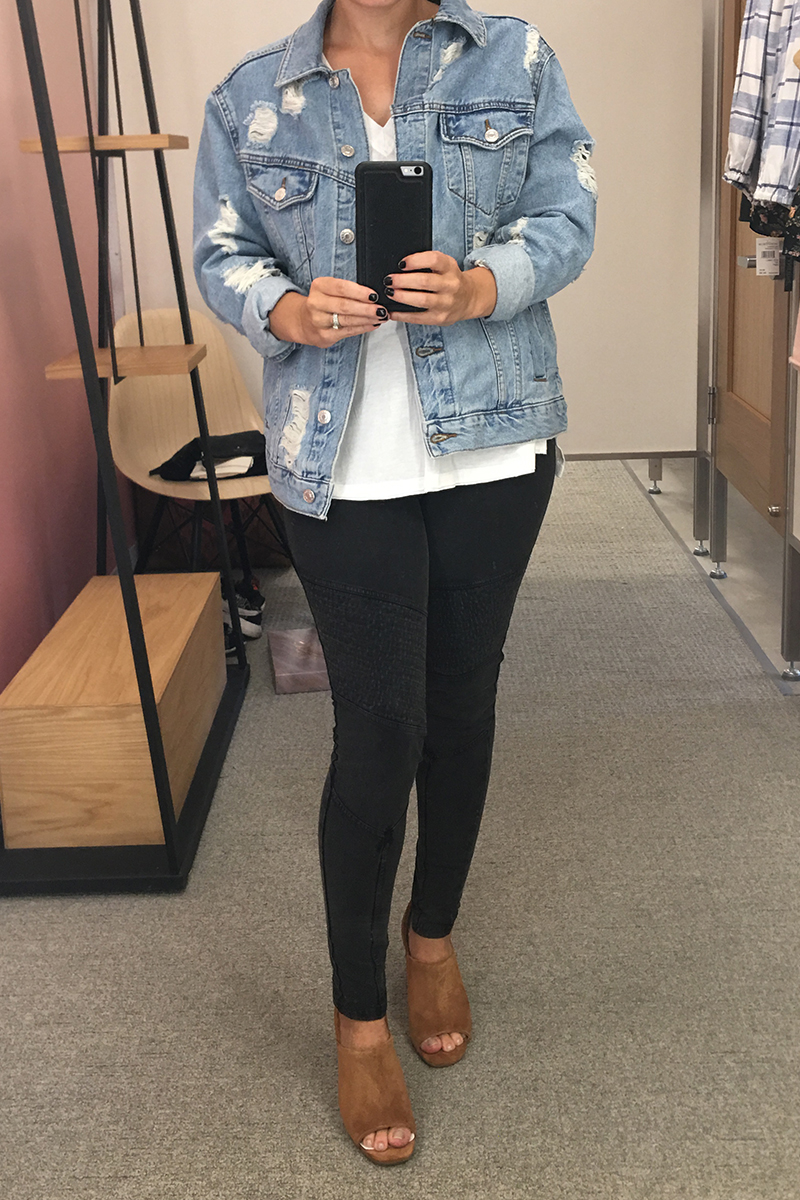 destroyed denim jacket and black moto leggings for only $25