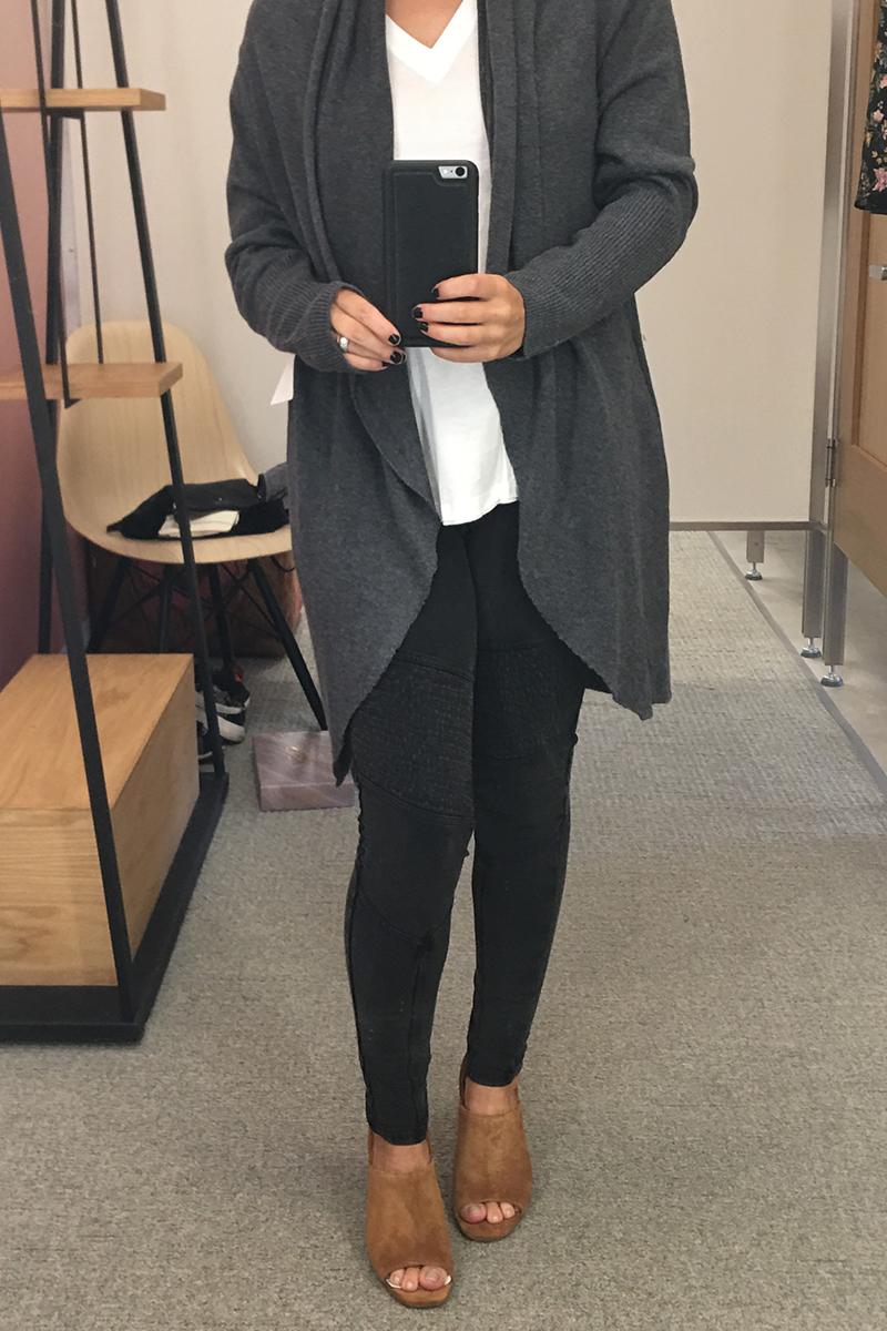 cardigan, black leggings, white t-shirt