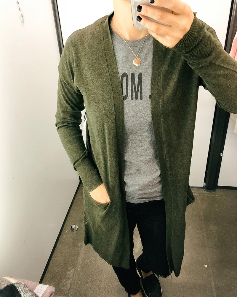 Olive green long cardigan for fall cold and crisp weather